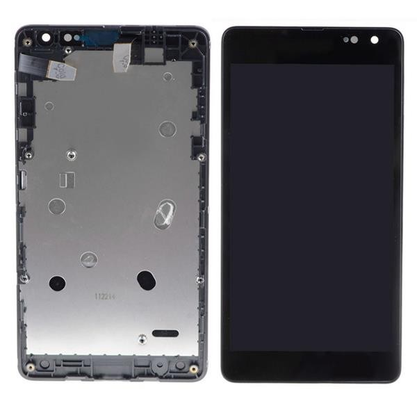 Microsoft Lumia 535 Dual SIM LCD Screen and Digitizer Assembly with Front Housing (2S Version-Dual SIM) - Black - Full Original - Microsoft Logo